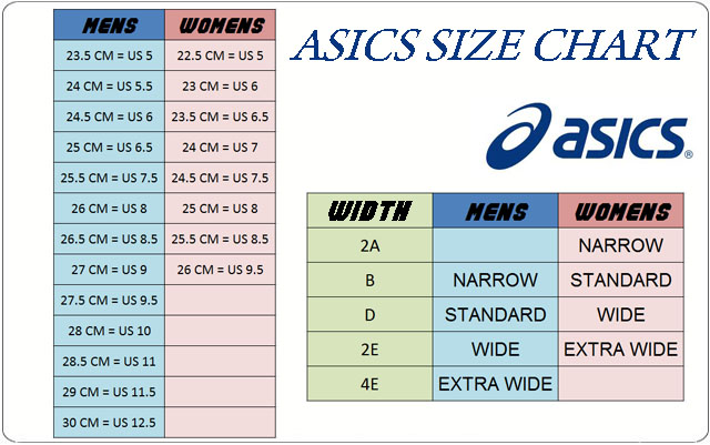 asics trainers size guide