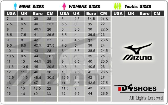 mizuno women's shoe size chart
