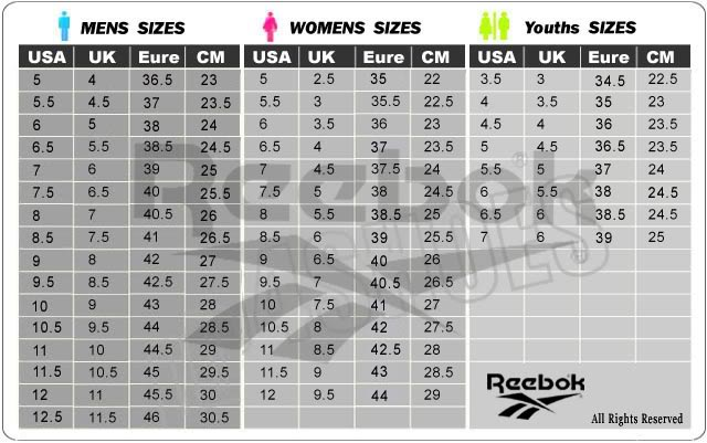 REEBOK SIZE CHART. Back to Top