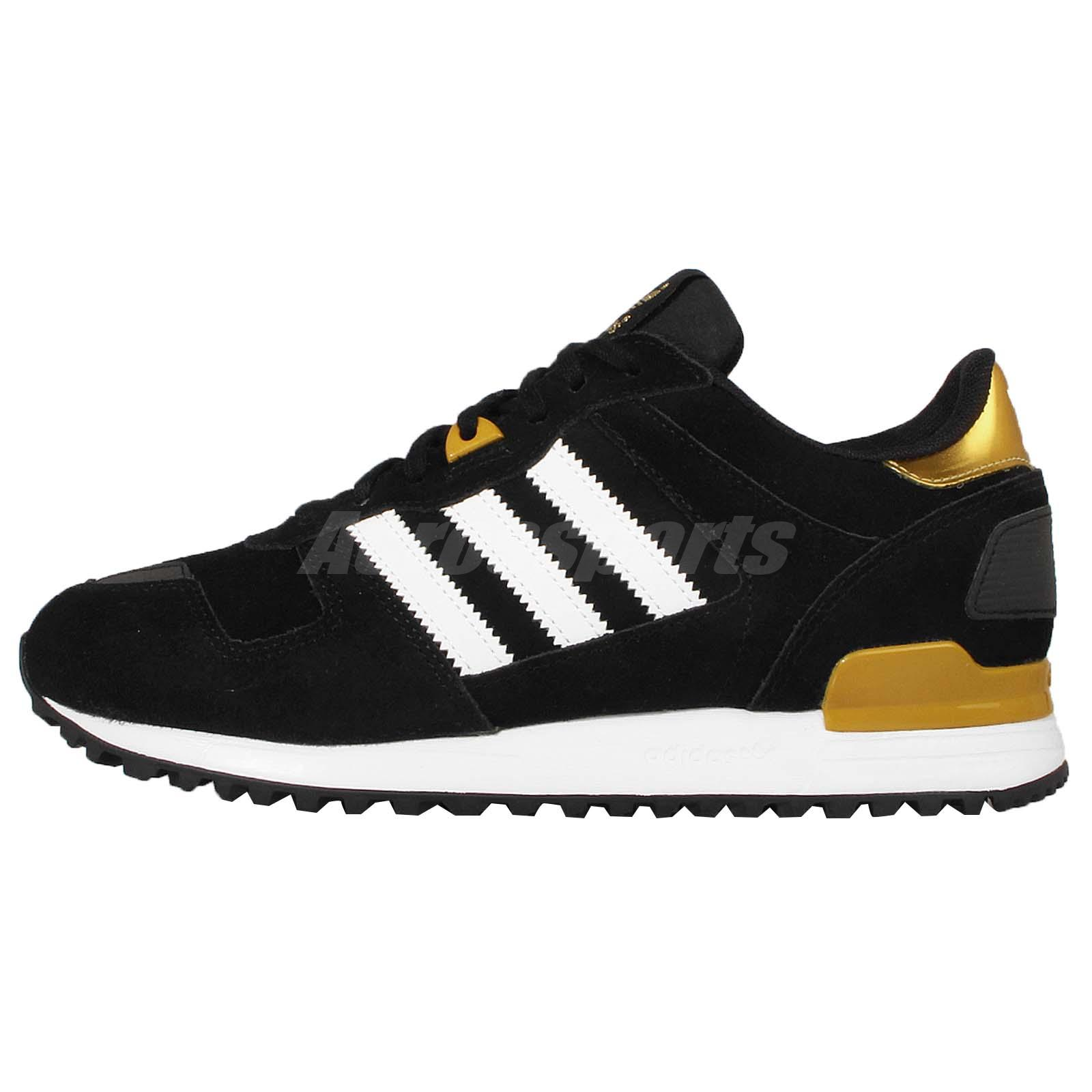 Adidas Originals ZX 700 W Black Gold Suede WOmens Retro Shoes Sneakers  B25712