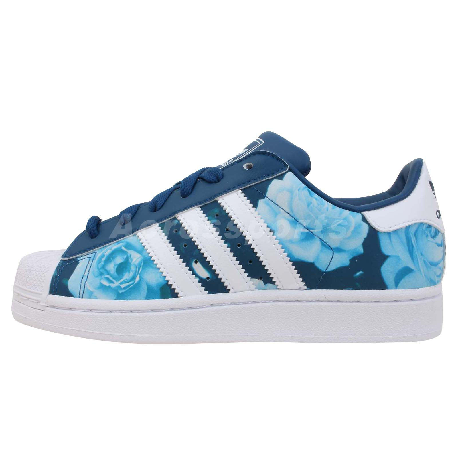 adidas originals superstar 2 w blue rose floral womens classic casual shoes ebay. Black Bedroom Furniture Sets. Home Design Ideas