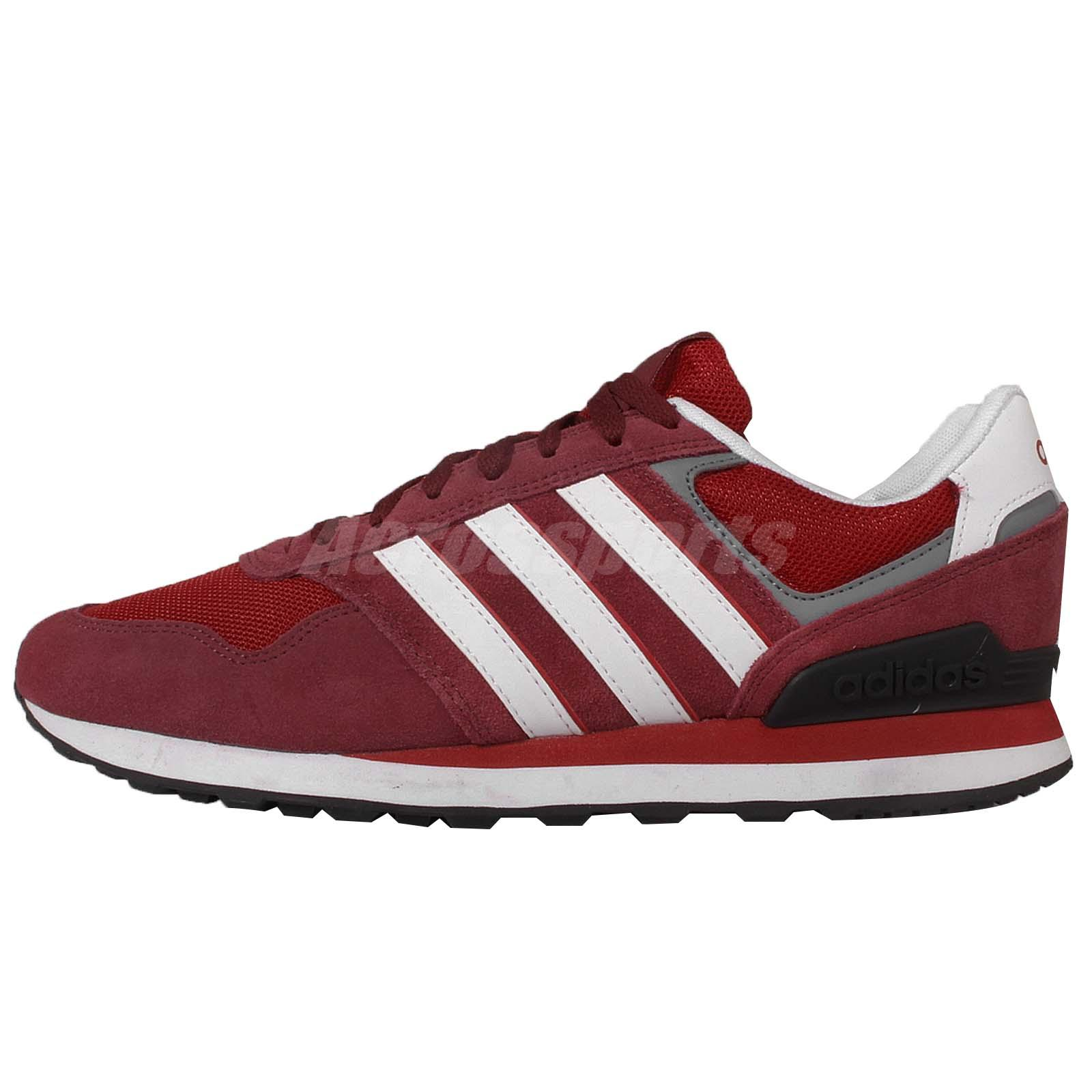 adidas neo label 10k red white suede mens casual shoes. Black Bedroom Furniture Sets. Home Design Ideas