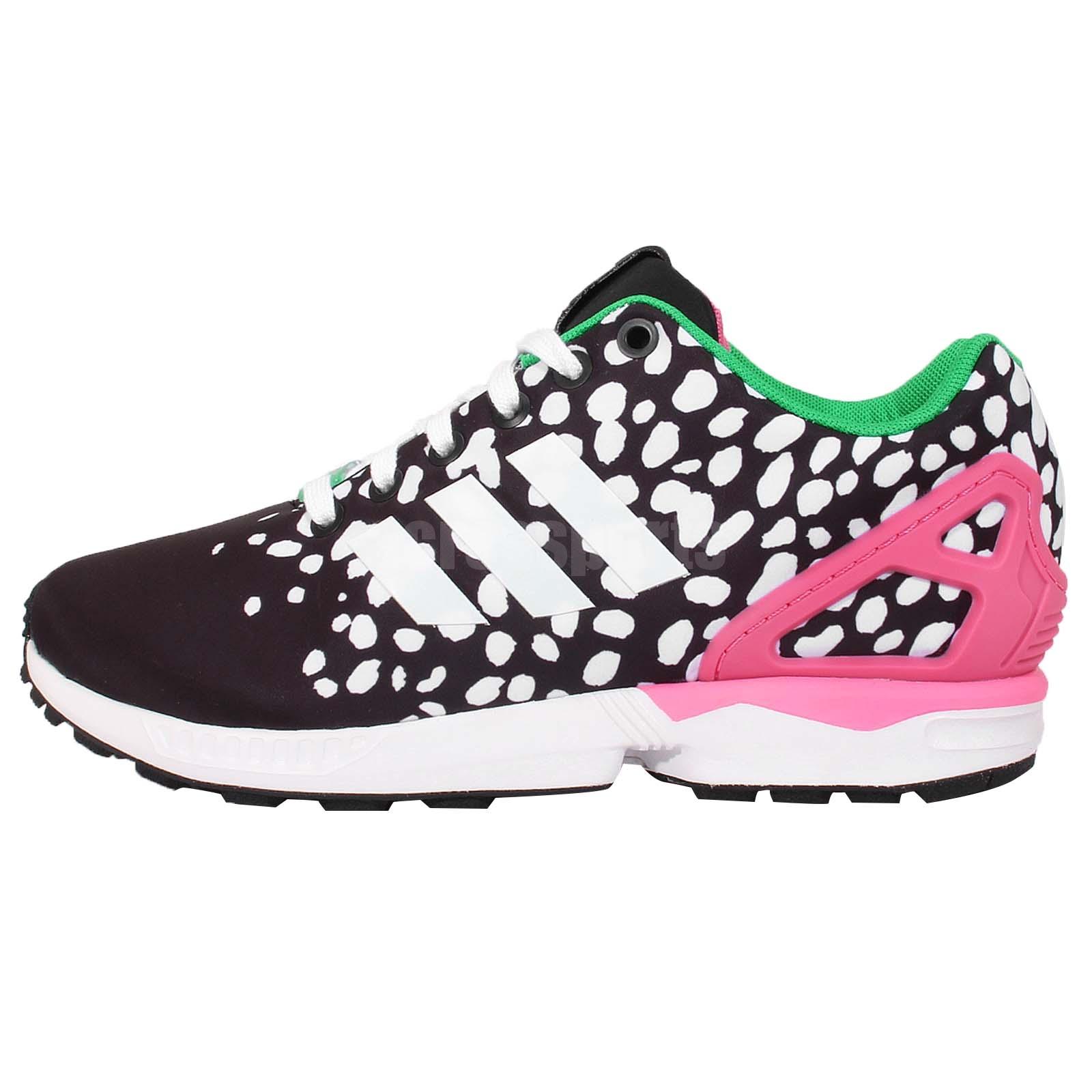 adidas originals zx flux w black white pink womens