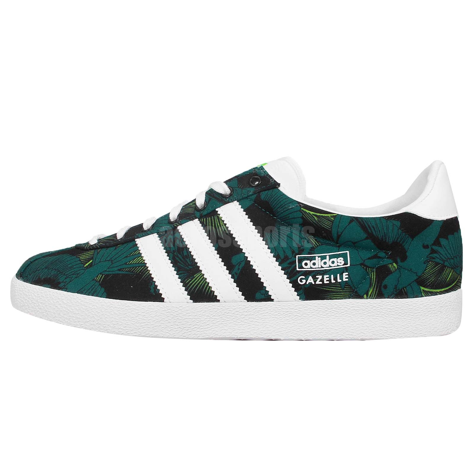 adidas Originals Gazelle OG W Green White Floral Womens Shoes Sneakers M19561
