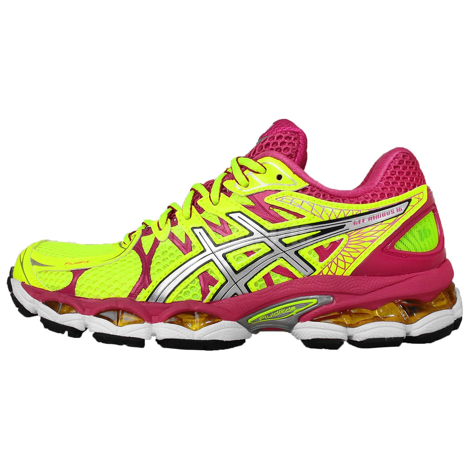 asics gel nimbus 16 flash yellow pink silver womens jogging running shoes ebay. Black Bedroom Furniture Sets. Home Design Ideas