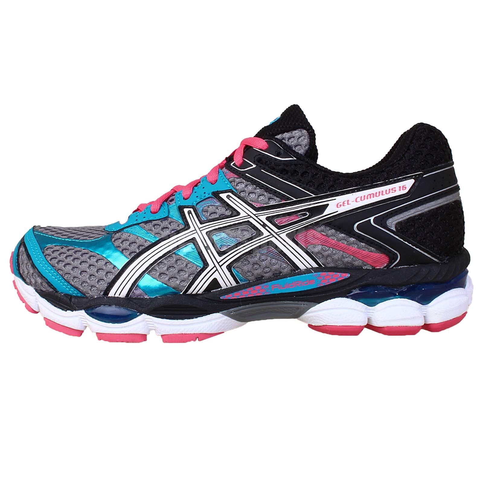 asics gel cumulus 16 grey pink blue womens jogging running shoes sneakers ebay. Black Bedroom Furniture Sets. Home Design Ideas
