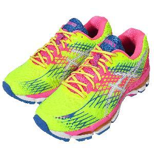 asics gel nimbus 17 womens running shoes flash yellow/white/blue atoll