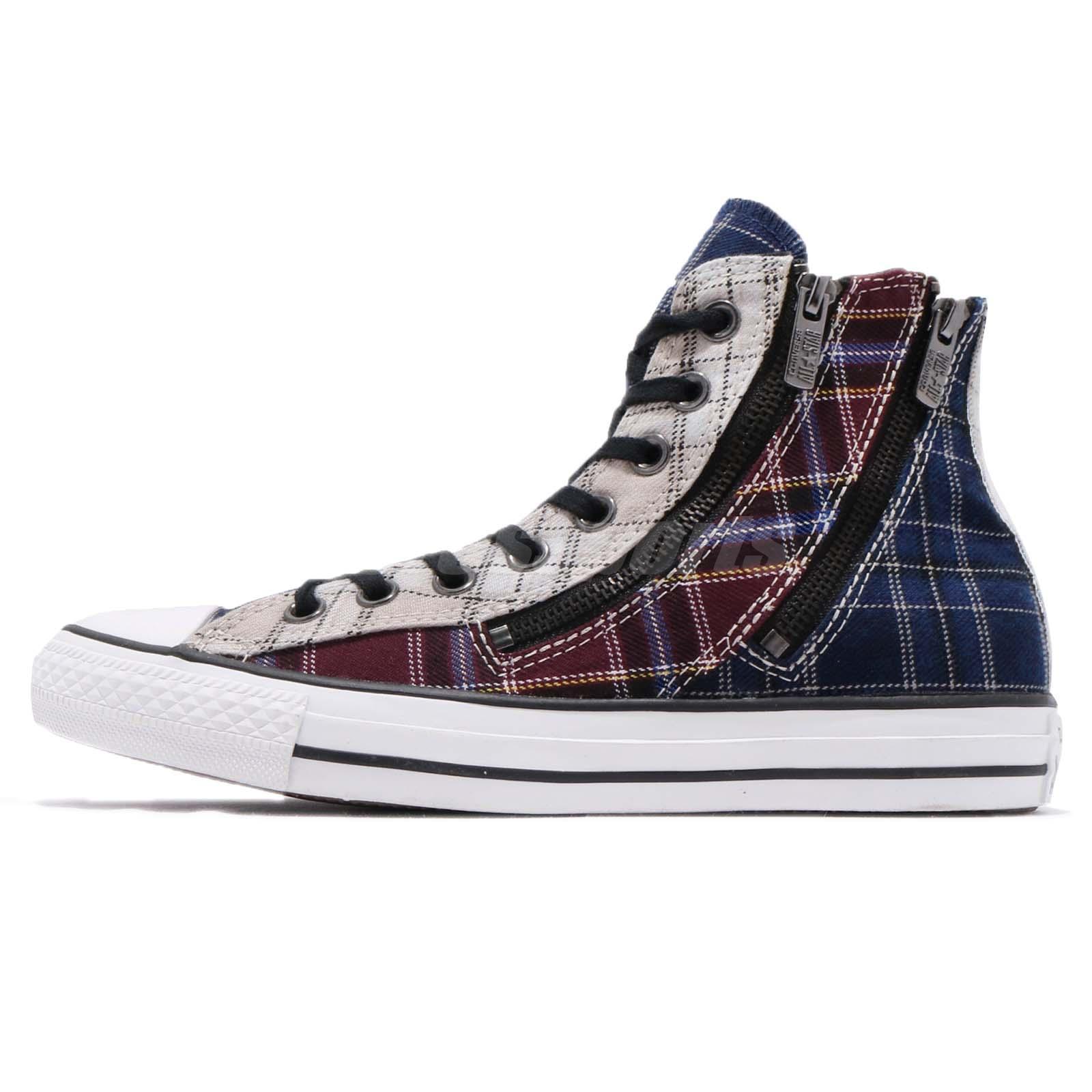converse chuck all dual zip plaid blue womens casual shoes 549575c ebay