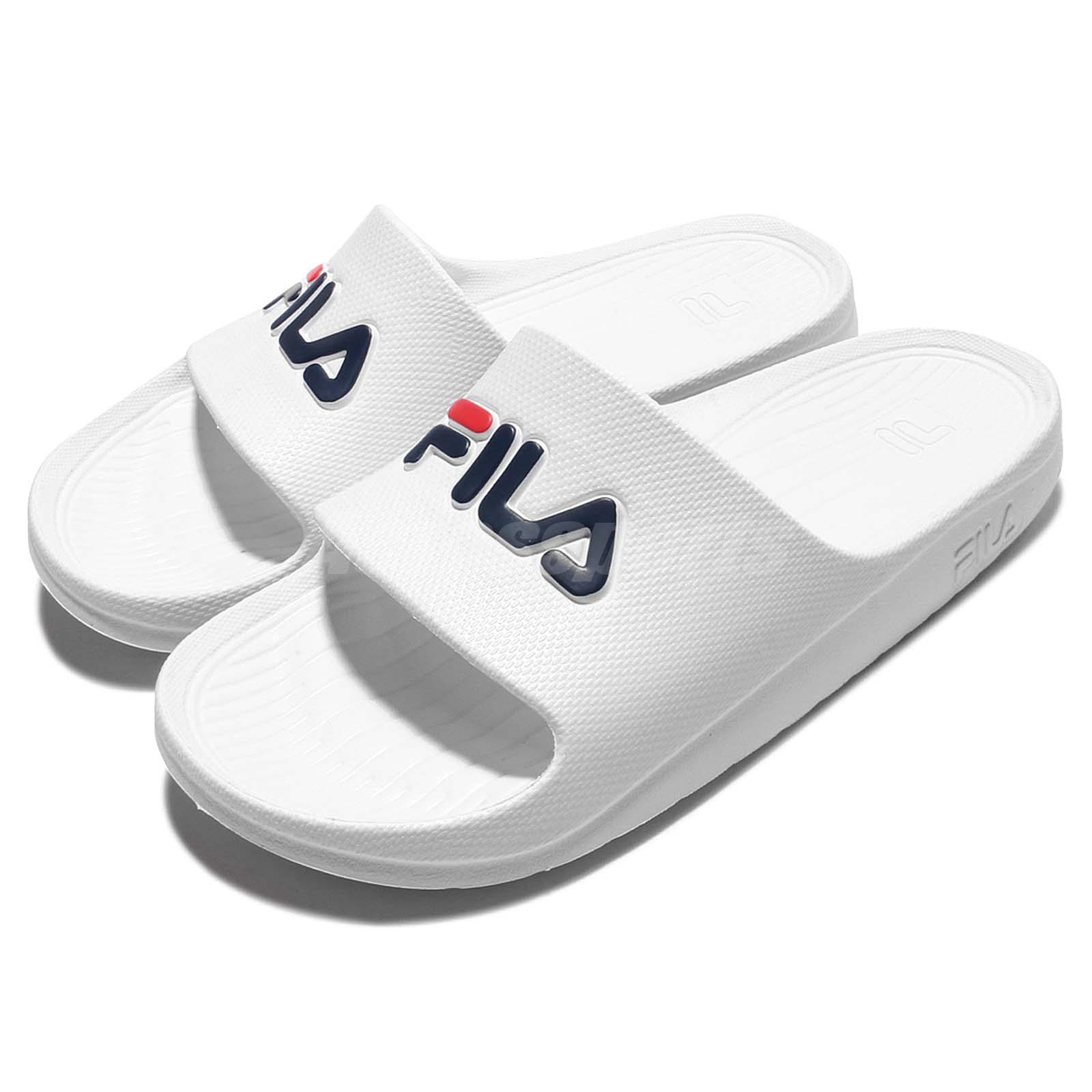 Shipping To China >> Fila S355Q Solid All White Navy Red Men Sport Sandal Slides Slippers 4-S355Q-113 | eBay