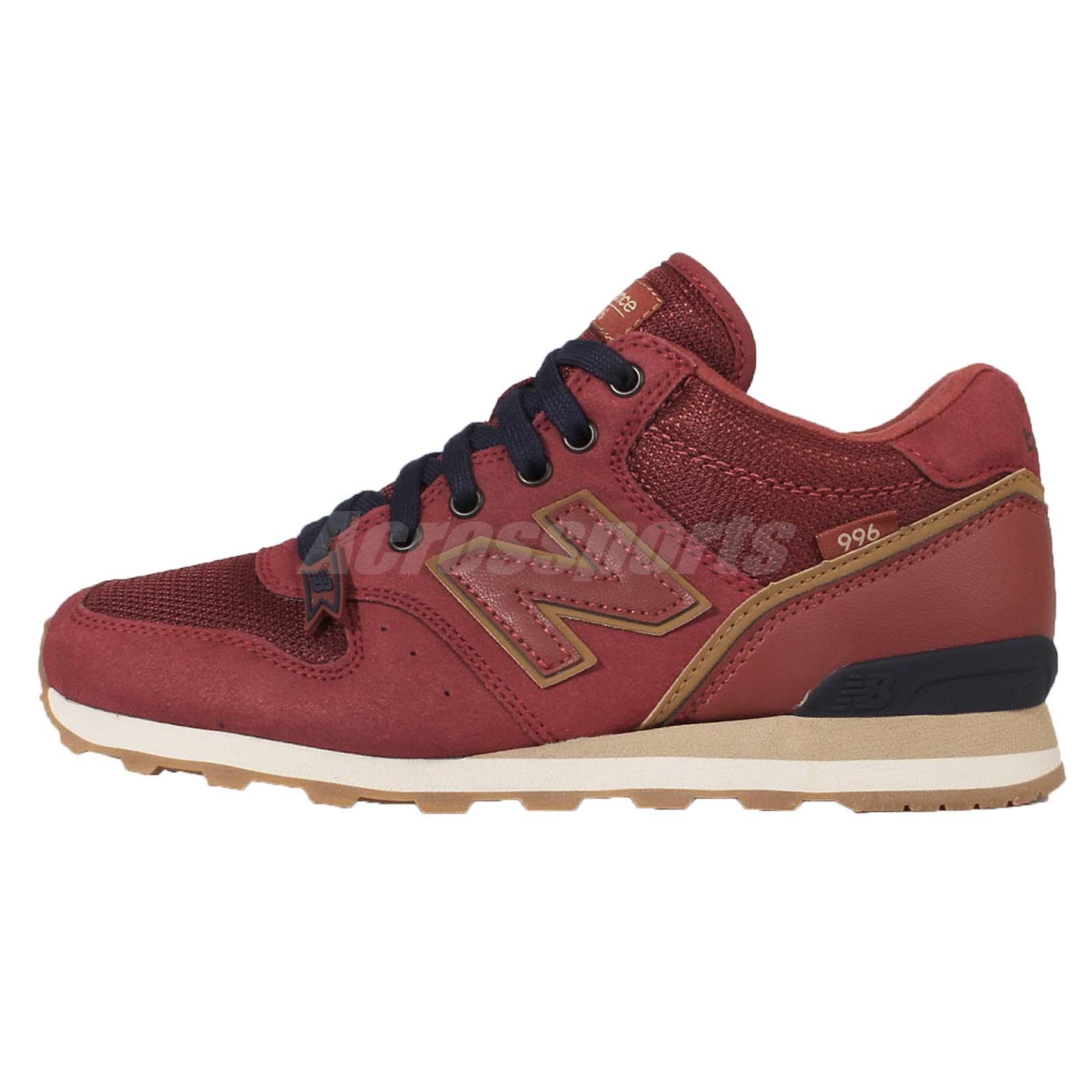 New Balance WH996CA D Wide Red Gold Suede Womens Retro Running Shoes WH996CAD