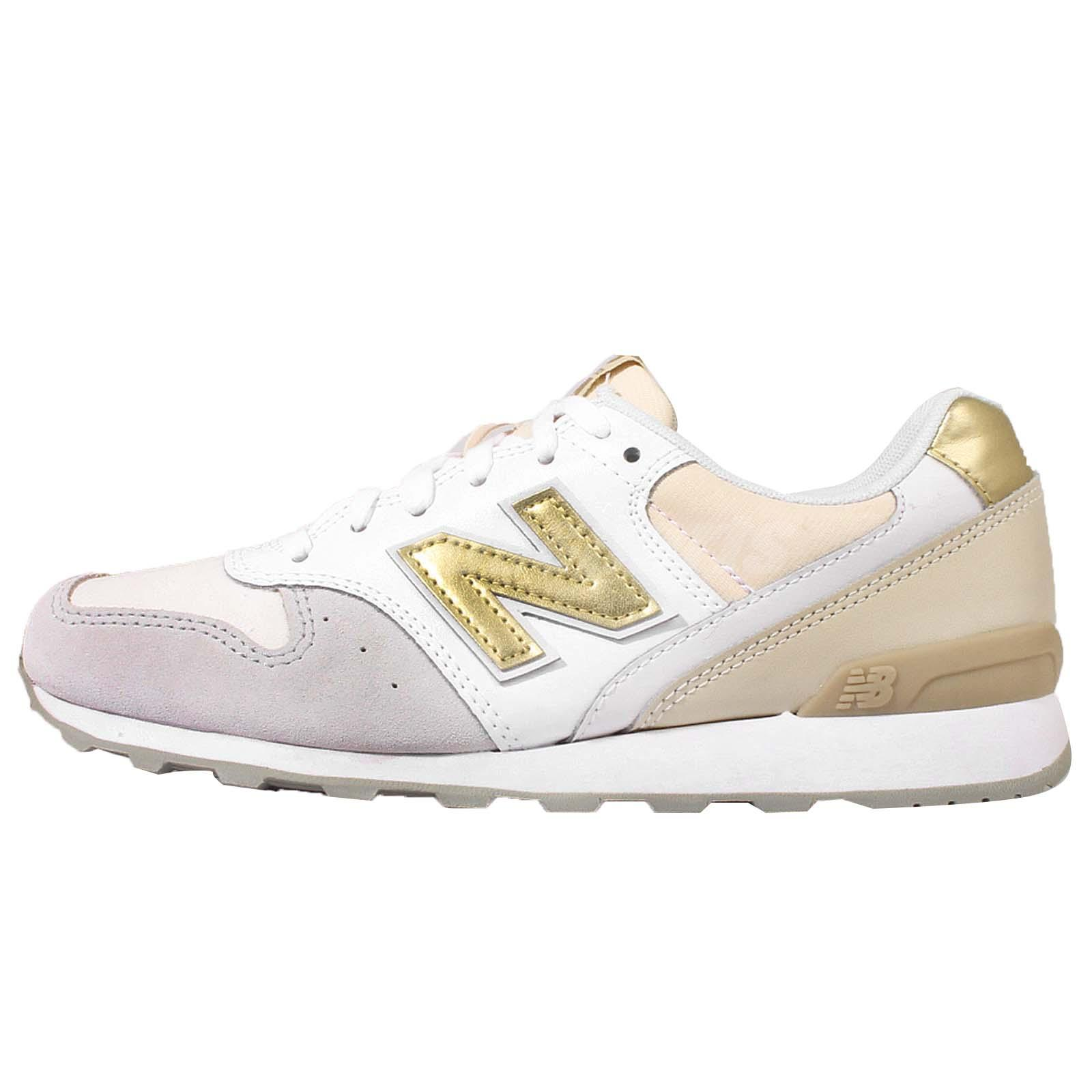 New Balance WR996IE D Wide White Gold Womens Retro Running Shoes WR996IED