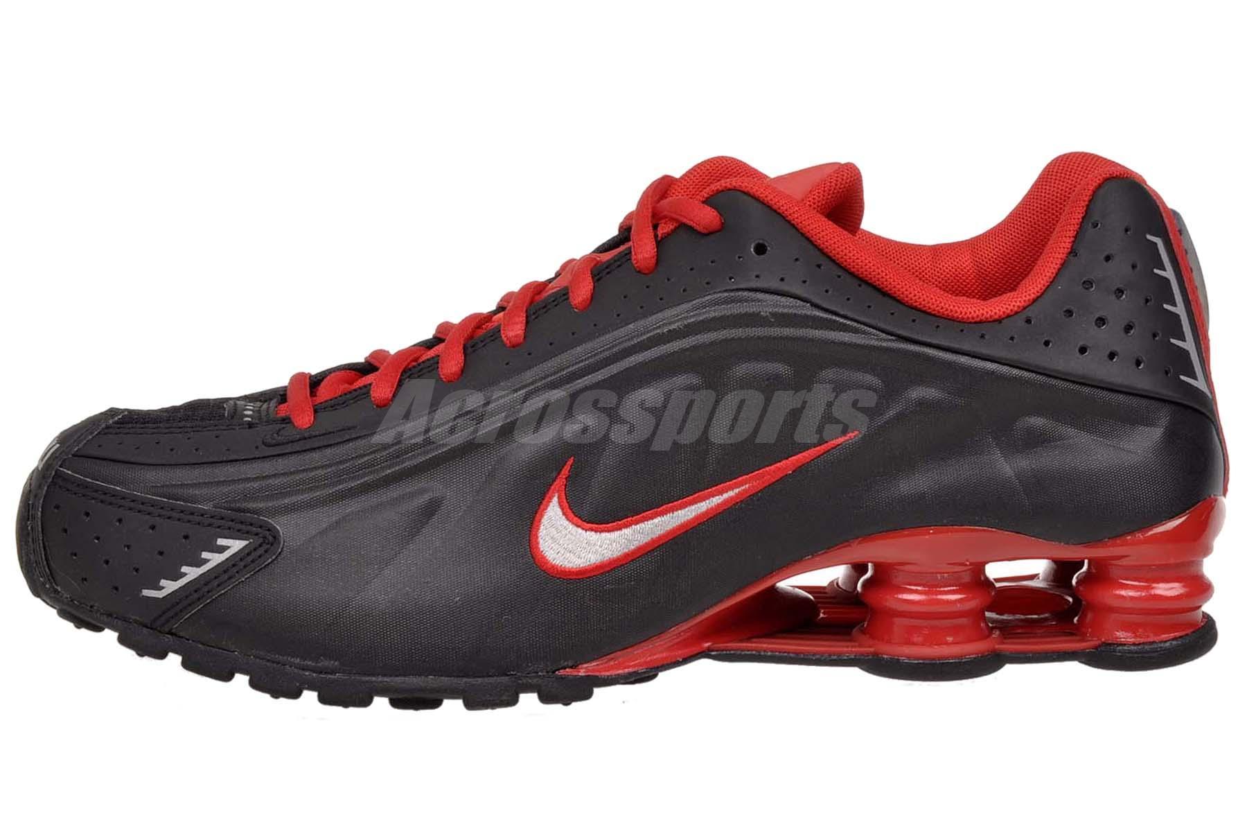 huge discount 82fd9 f83a9 black red shox r4 mens nike