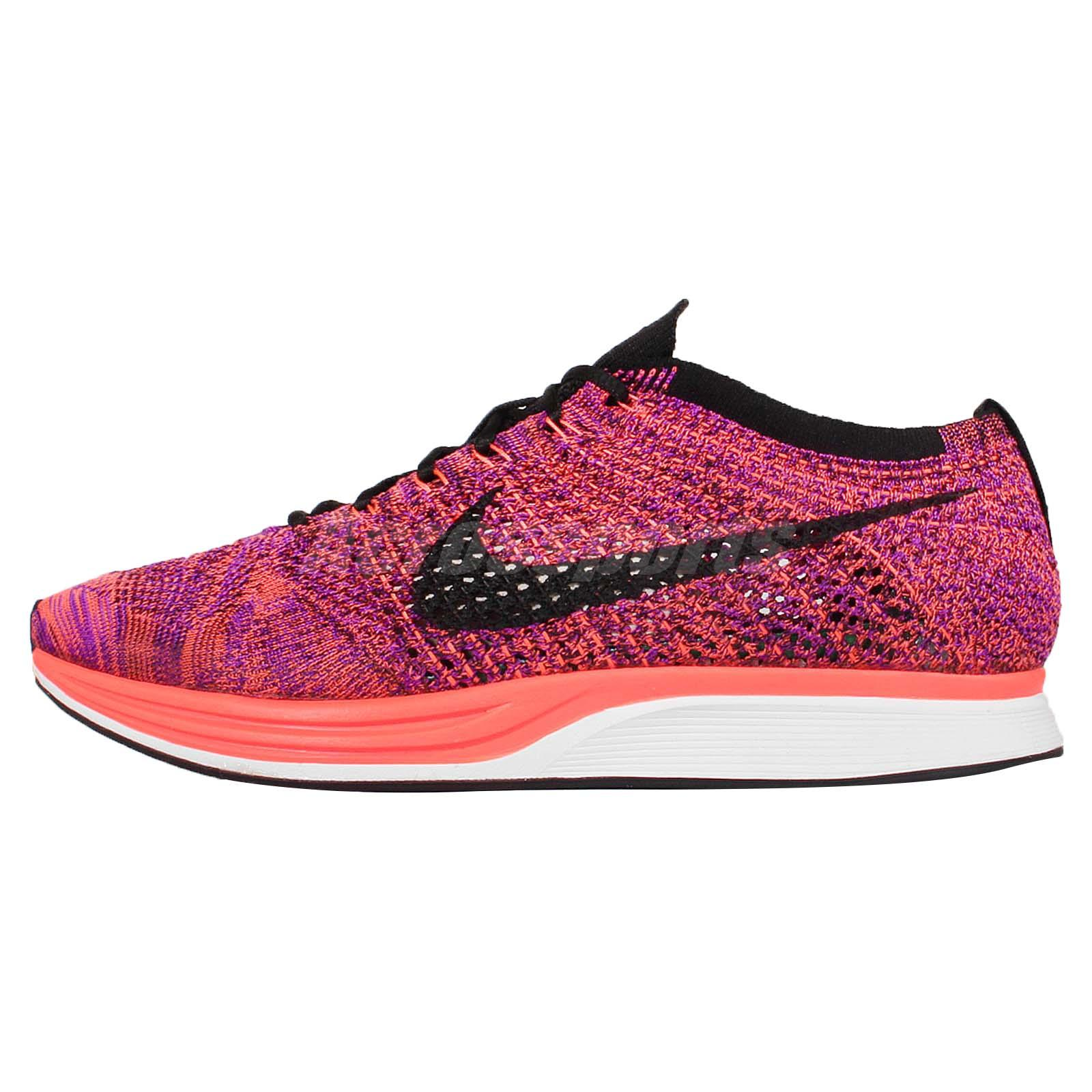 ... Nike Flyknit Racer Orange Purple Mens Running Shoes Sneakers Trainers  526628-008