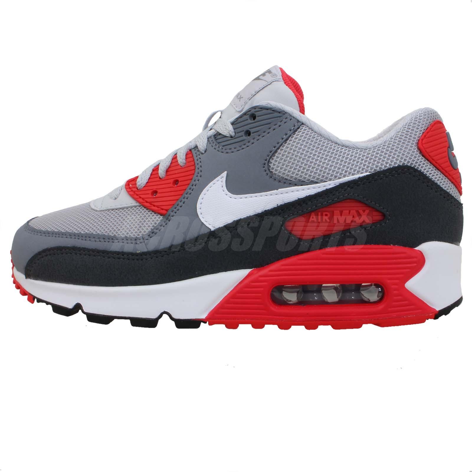 Nike Air Max 90 Essential 2013 Grey Black Red Mens NSW Sportswear Running Shoes   eBay