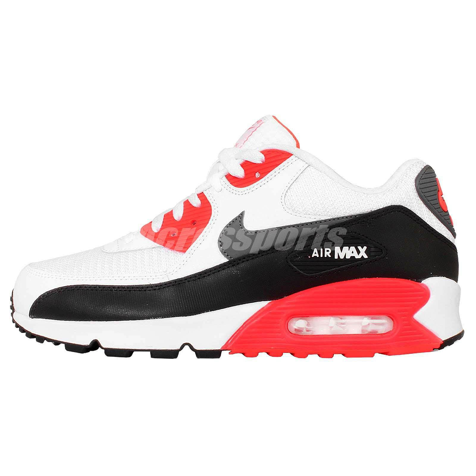 Nike Air Max 90 Essential White Infrared Black Mens Running Shoes OG 537384-126