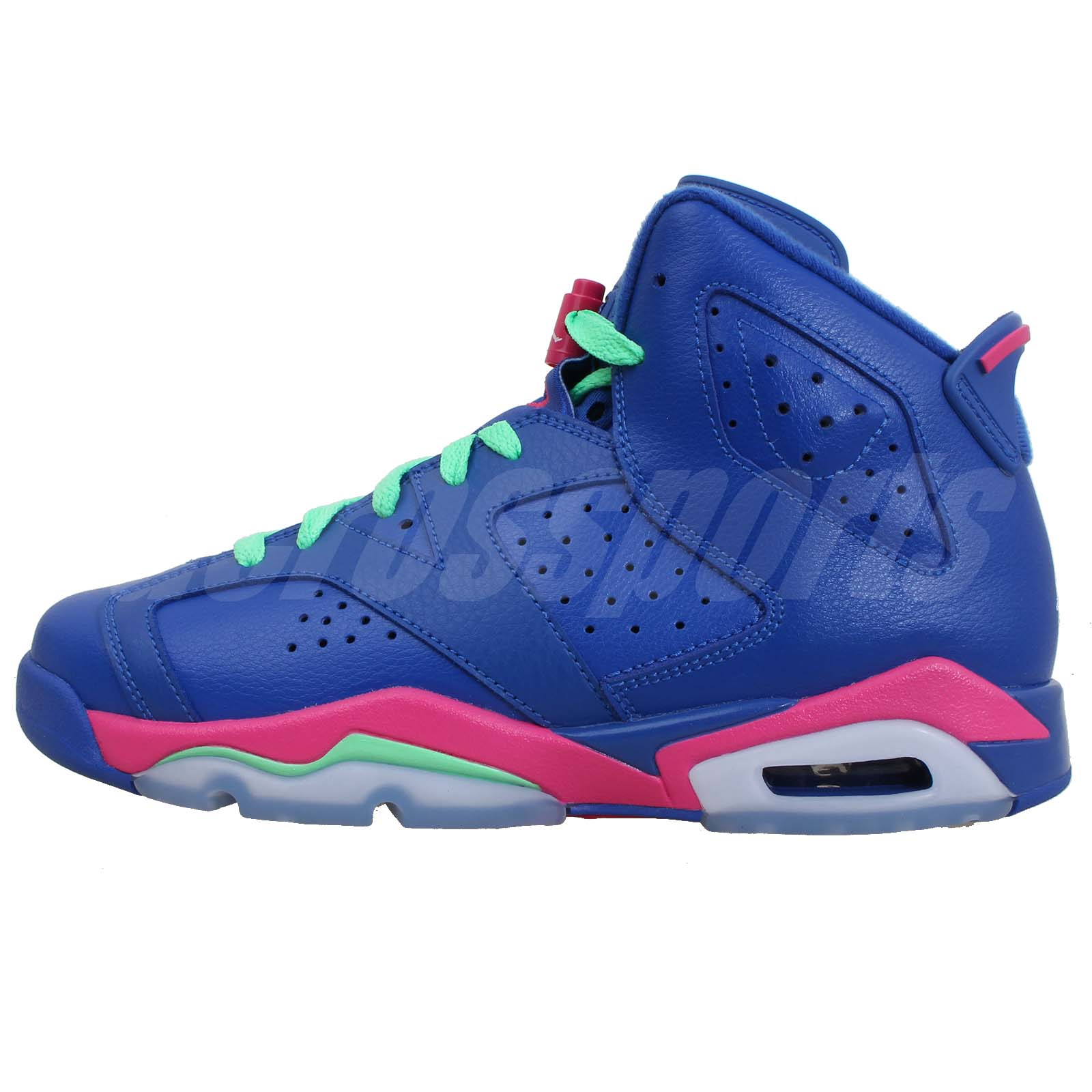 nike air jordan 6 retro gg gs girls youth 2014 blue pink