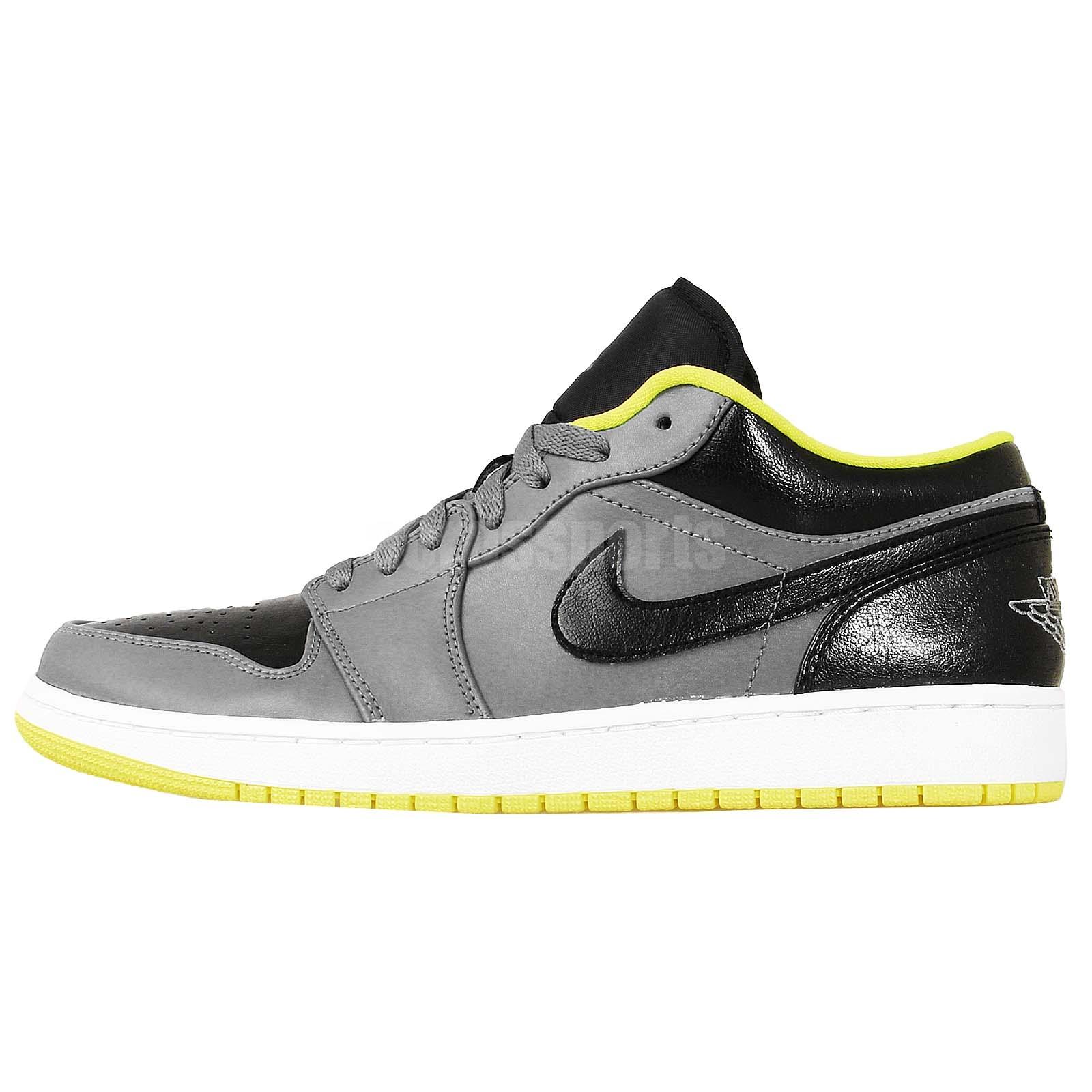 Nike Air Jordan 1 Low Black Grey Yellow AJ1 2014 Mens ...