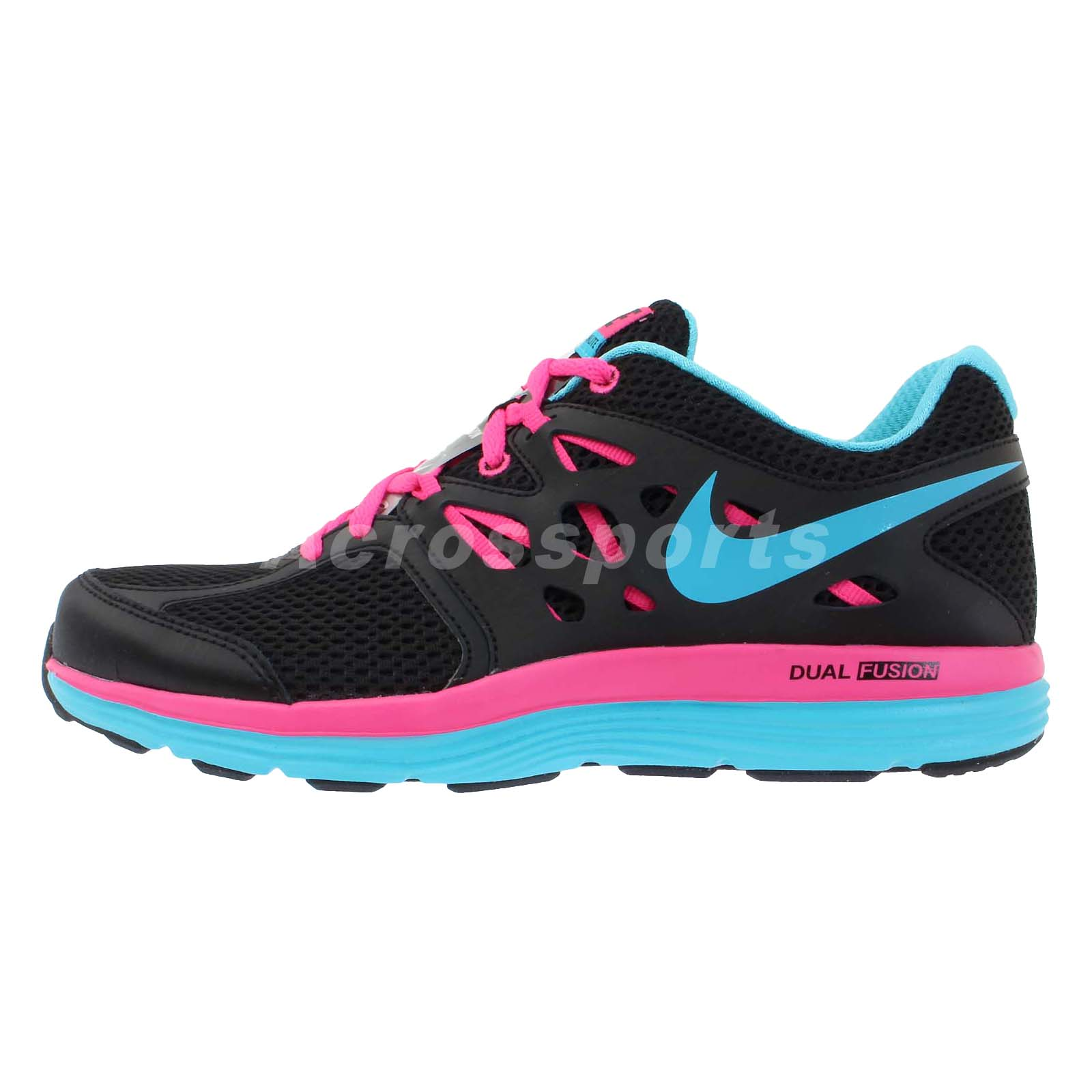 nike wmns dual fusion lite black pink blue 2013 womens lightweight running shoes ebay. Black Bedroom Furniture Sets. Home Design Ideas
