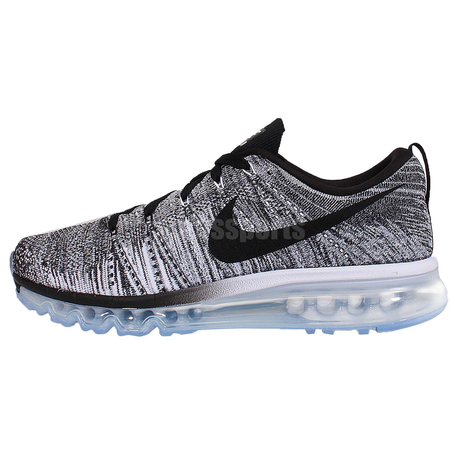 nike flyknit max oreo black white grey mens running shoes