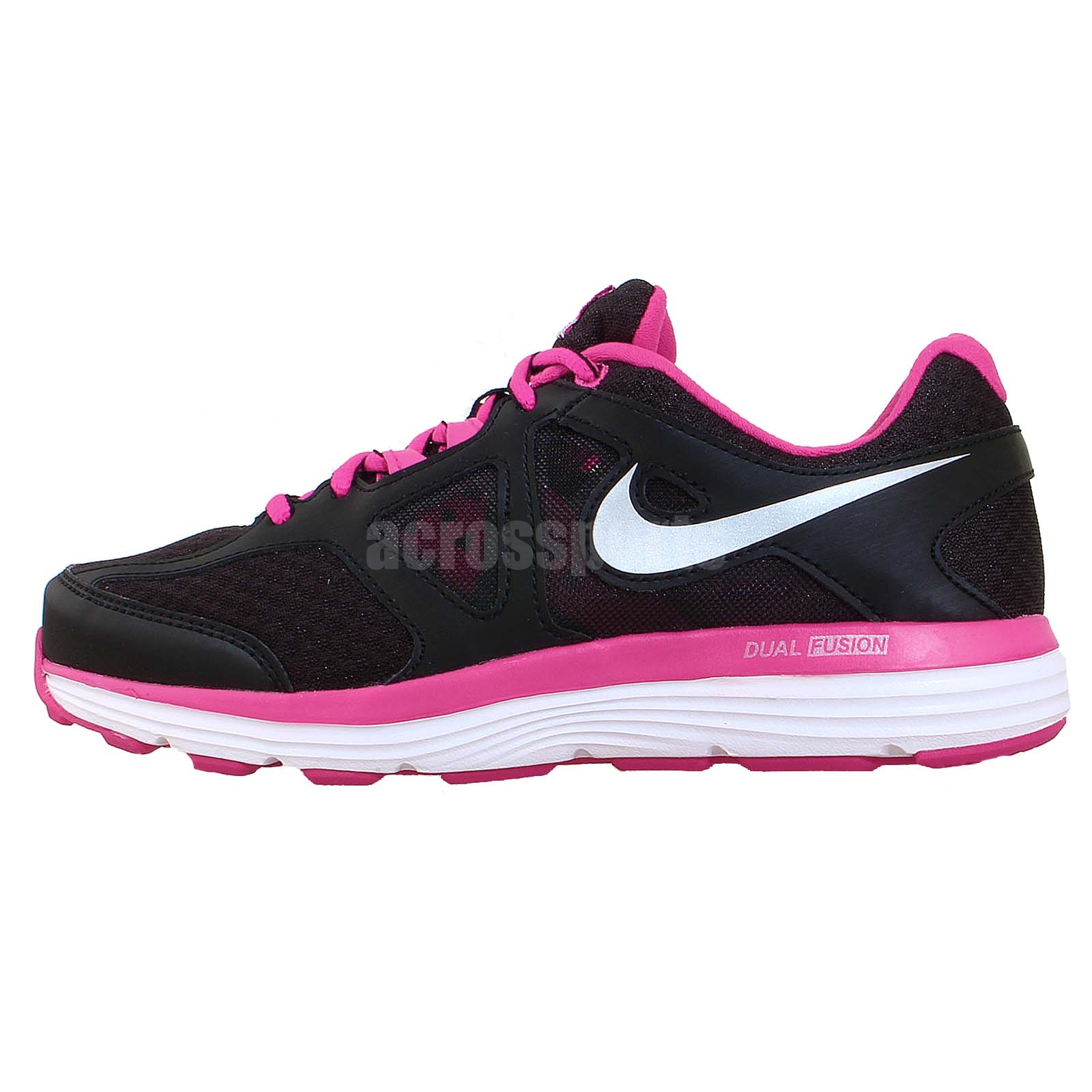 nike wmns dual fusion lite 2 msl black vivid pink silver womens running shoes ebay. Black Bedroom Furniture Sets. Home Design Ideas