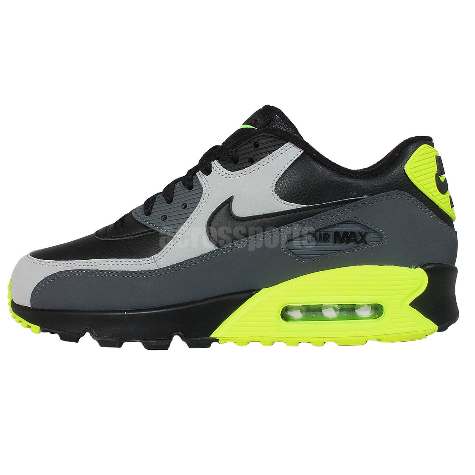 Nike Air Max 90 LTR Leather Black Grey Volt Mens Running