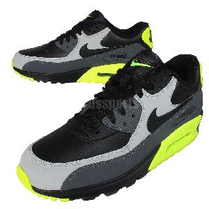 ztcaa Nike Air Max 90 LTR Leather Black Grey Volt Mens Running Shoes NSW
