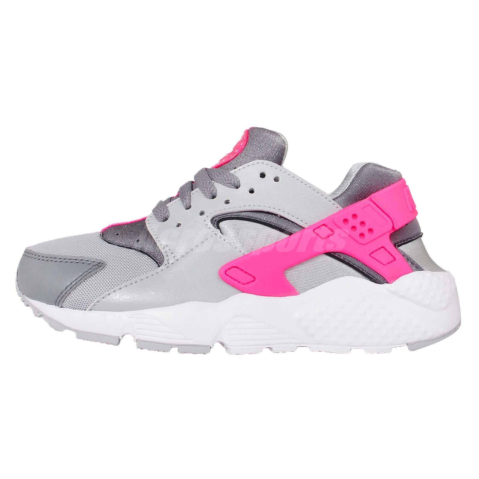 nike huarache kids grey and pink