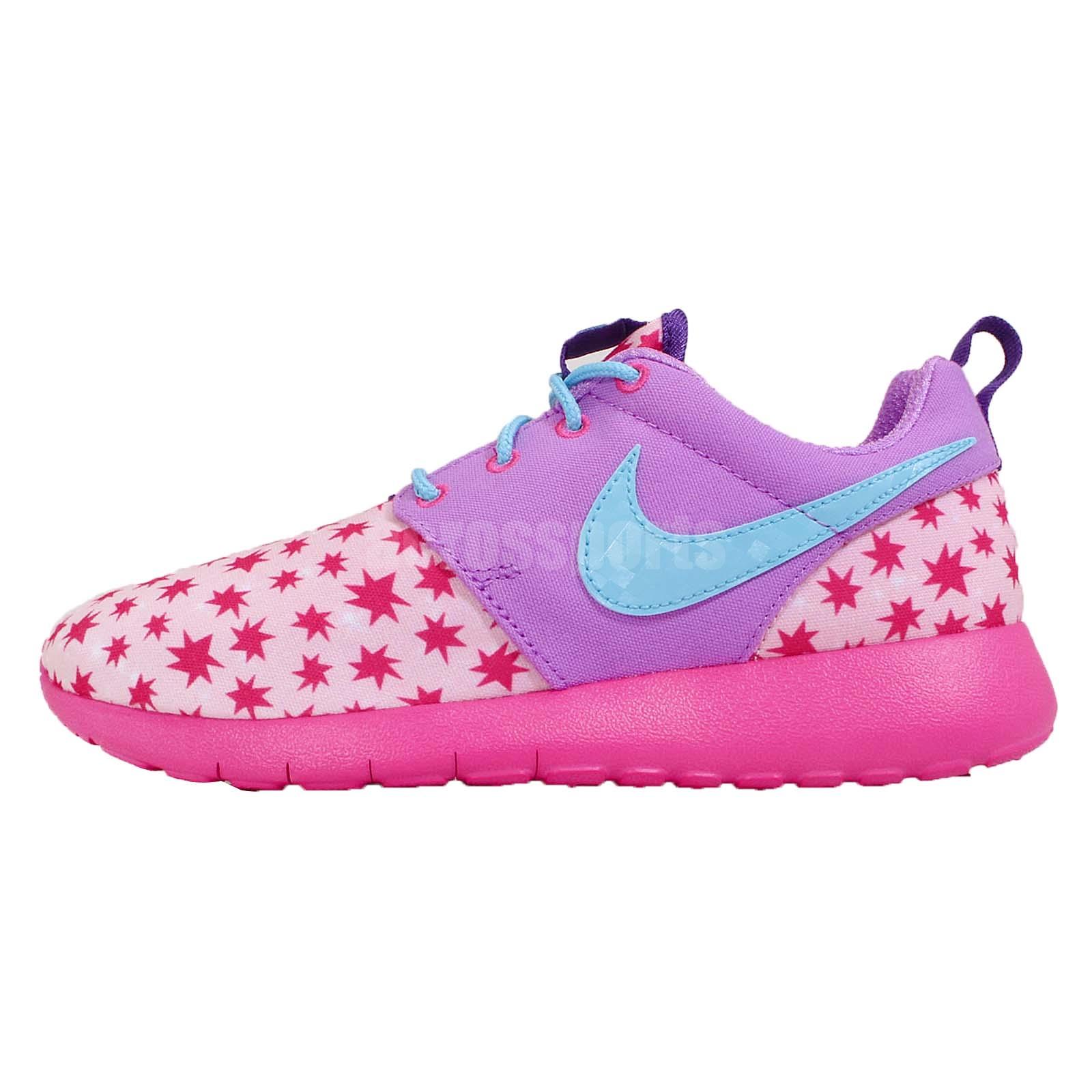 girls nike roshe purple shoes