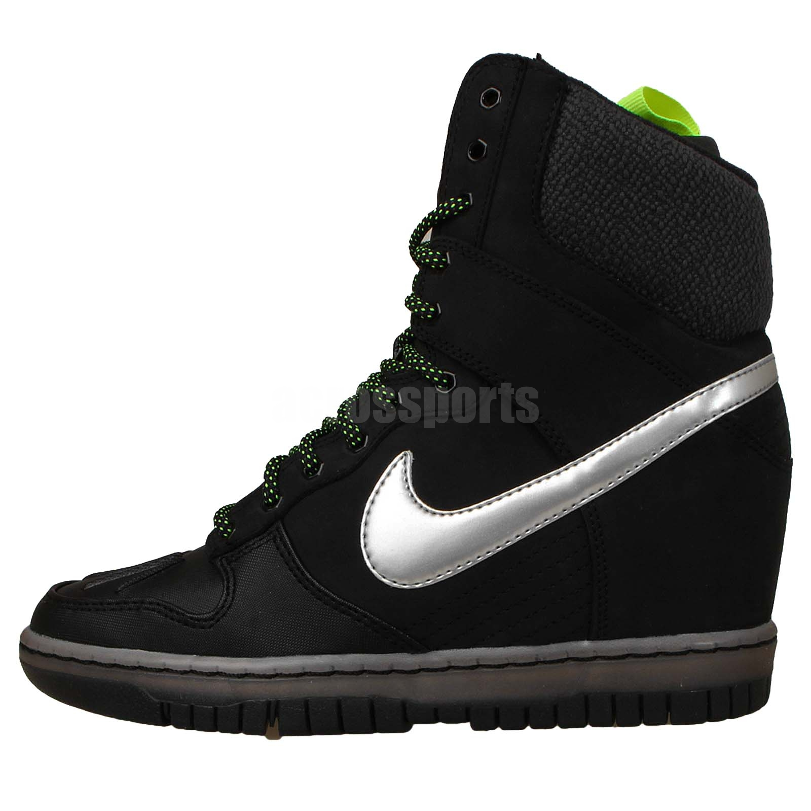 nike wmns dunk sky hi sneakerboot 2 0 black silver womens