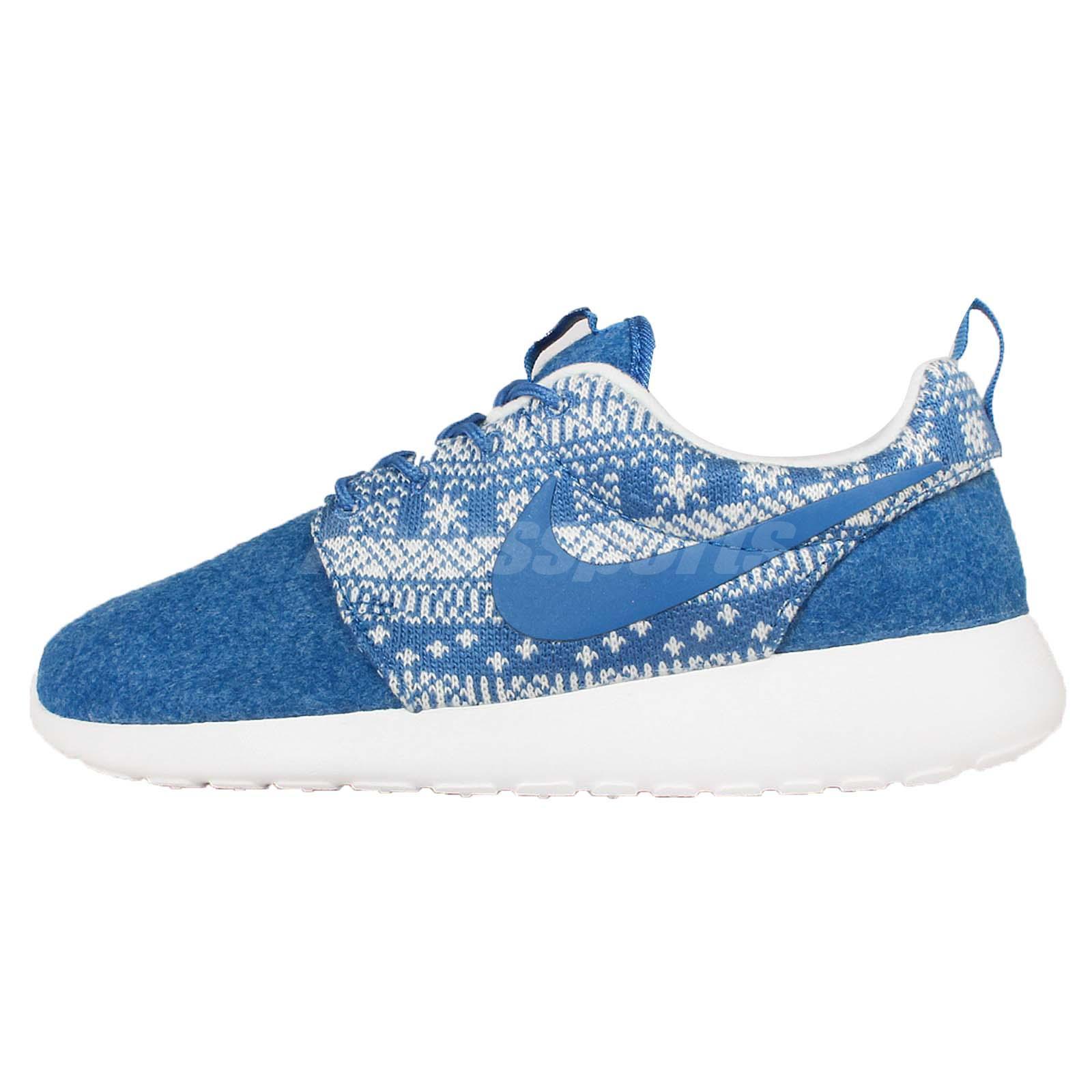 eljmi Wmns Nike Roshe One Winter Print Blue Snowflake Womens Running