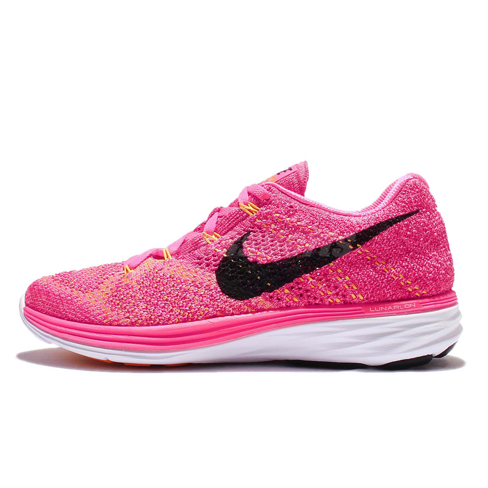 wmns nike flyknit lunar3 pink black womens running shoes
