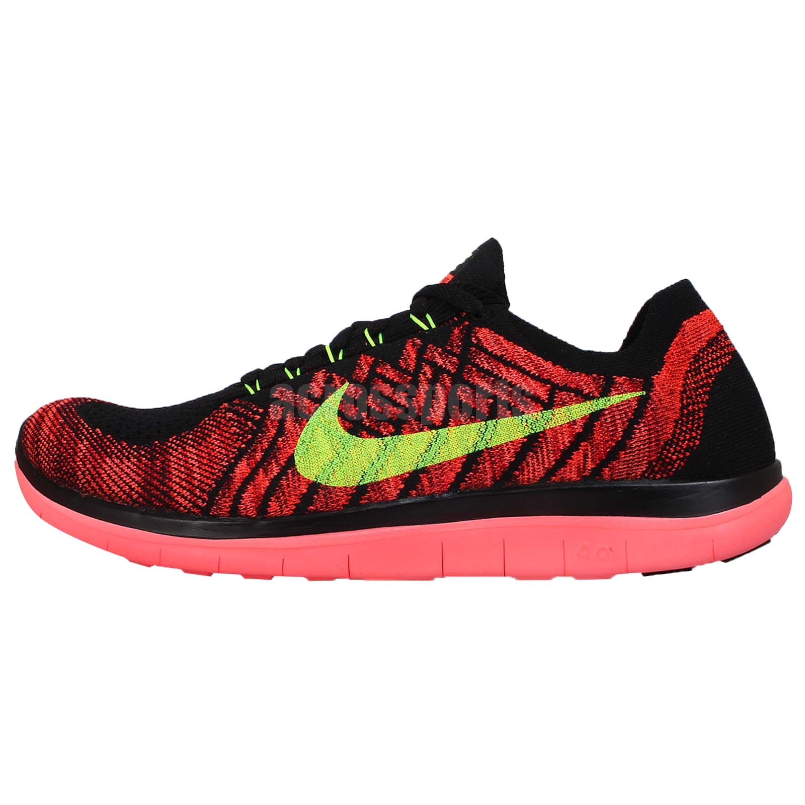 nike free 4 0 flyknit black pink volt mens running shoes