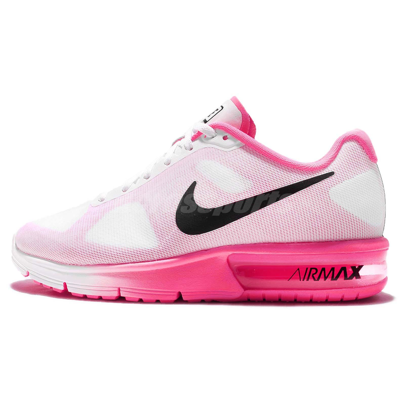 wmns nike air max sequent white pink black womens running