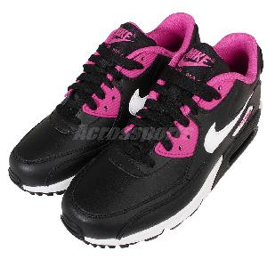 Nike Air Max 90 LTR GS Leather Black Pink Kids Womens Running Shoes 724852-006