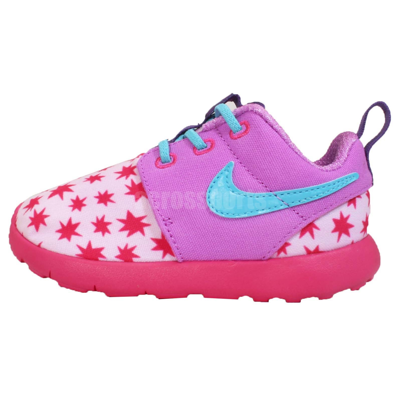 nike roshe one print tdv rosherun pink blue toddler baby