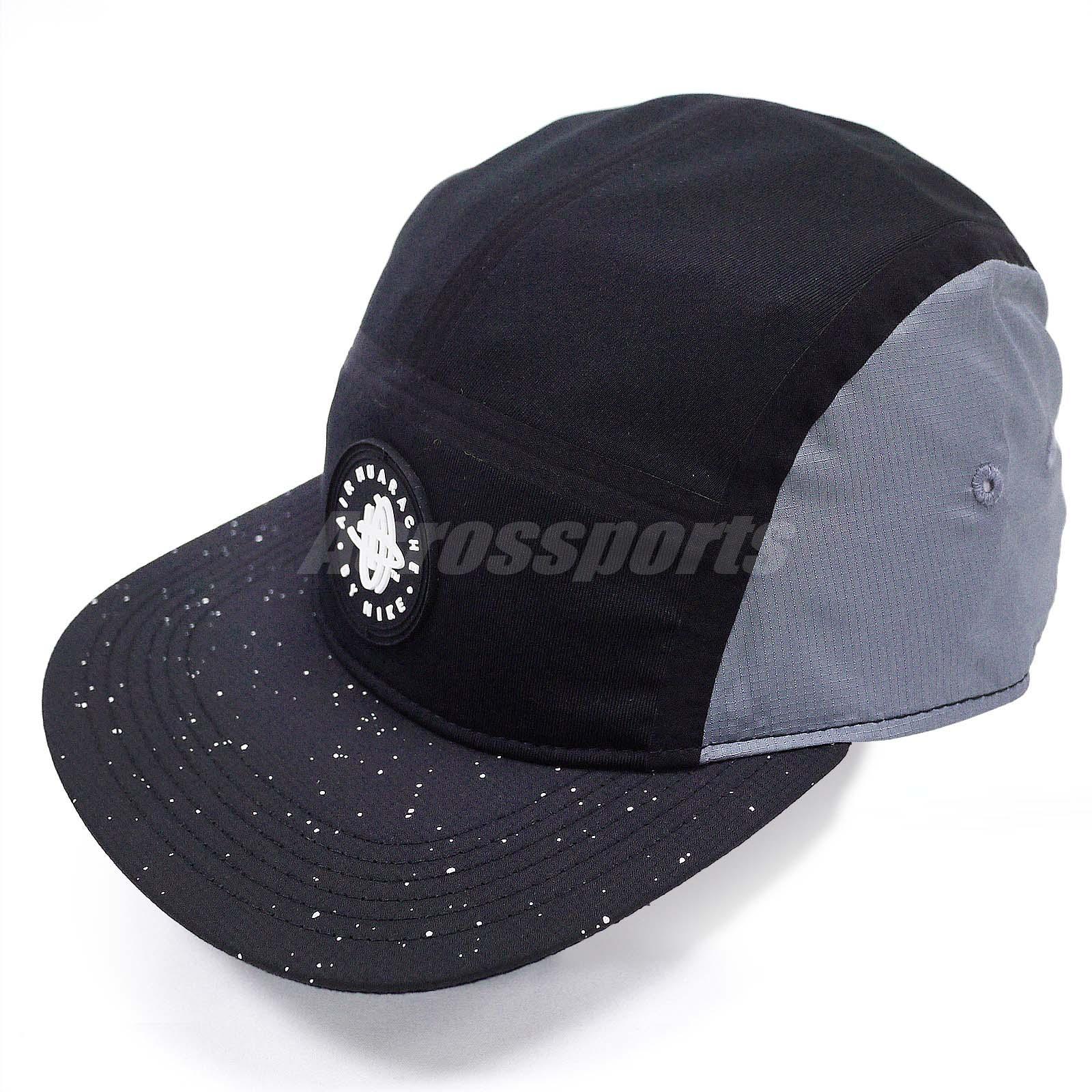 nike huarache aw84 black grey mens womens 5 panel caps hat