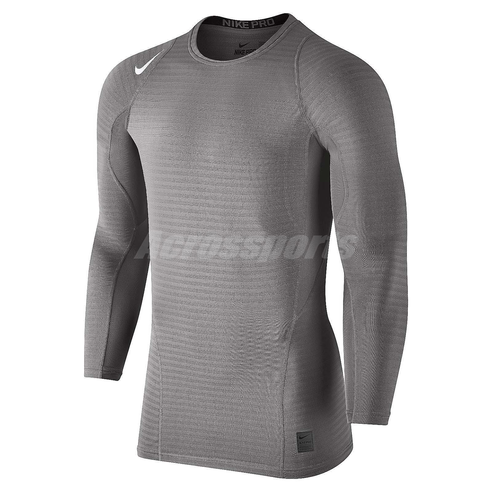 Nike Pro Warm Compression Long Sleeve Grey Mens Training Shirts ...