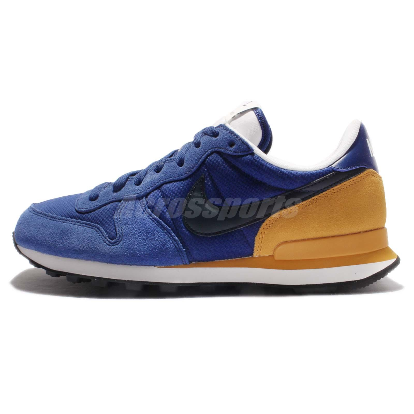 huge discount 9e631 62bb2 ... Nike Internationalist Blue Yellow Men Suede Running Shoes Sneakers  828041-400 ...