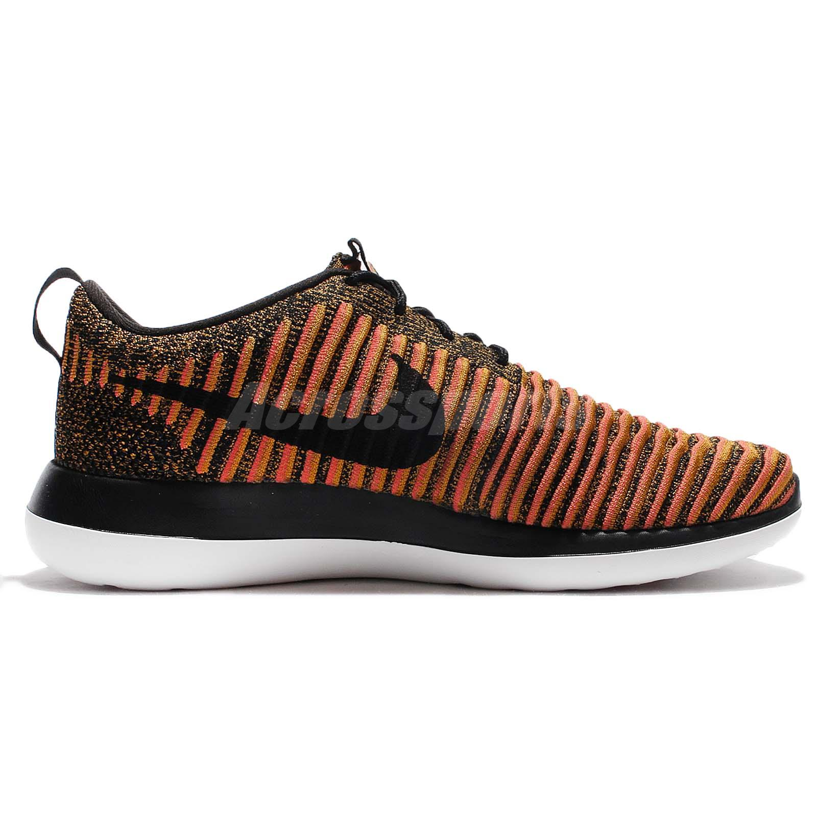 mens nike flyknit roshe run red orange