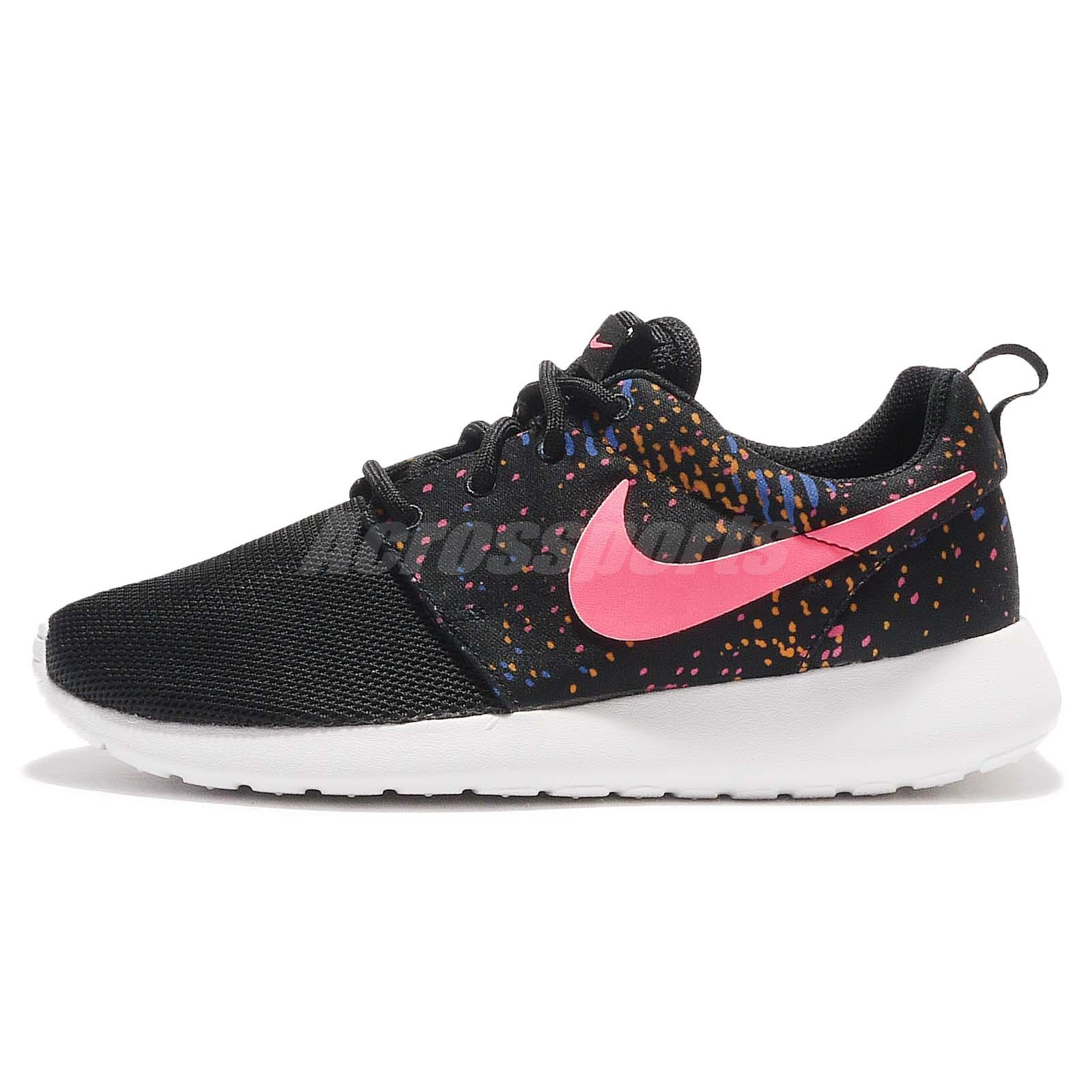 wmns nike roshe one print black pink womens running shoes
