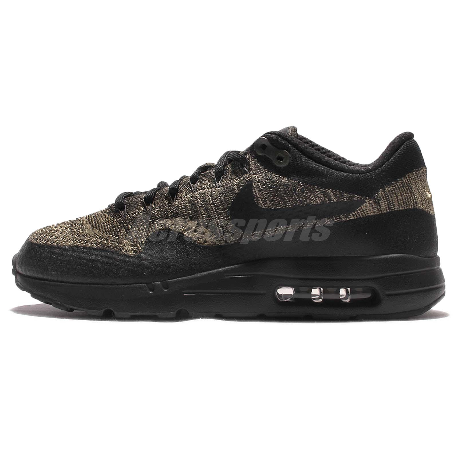 Nike air max 1 running shoes - Nike Air Max 1 Ultra Flyknit Black Green Mens Running Shoes Sneakers 856958 203