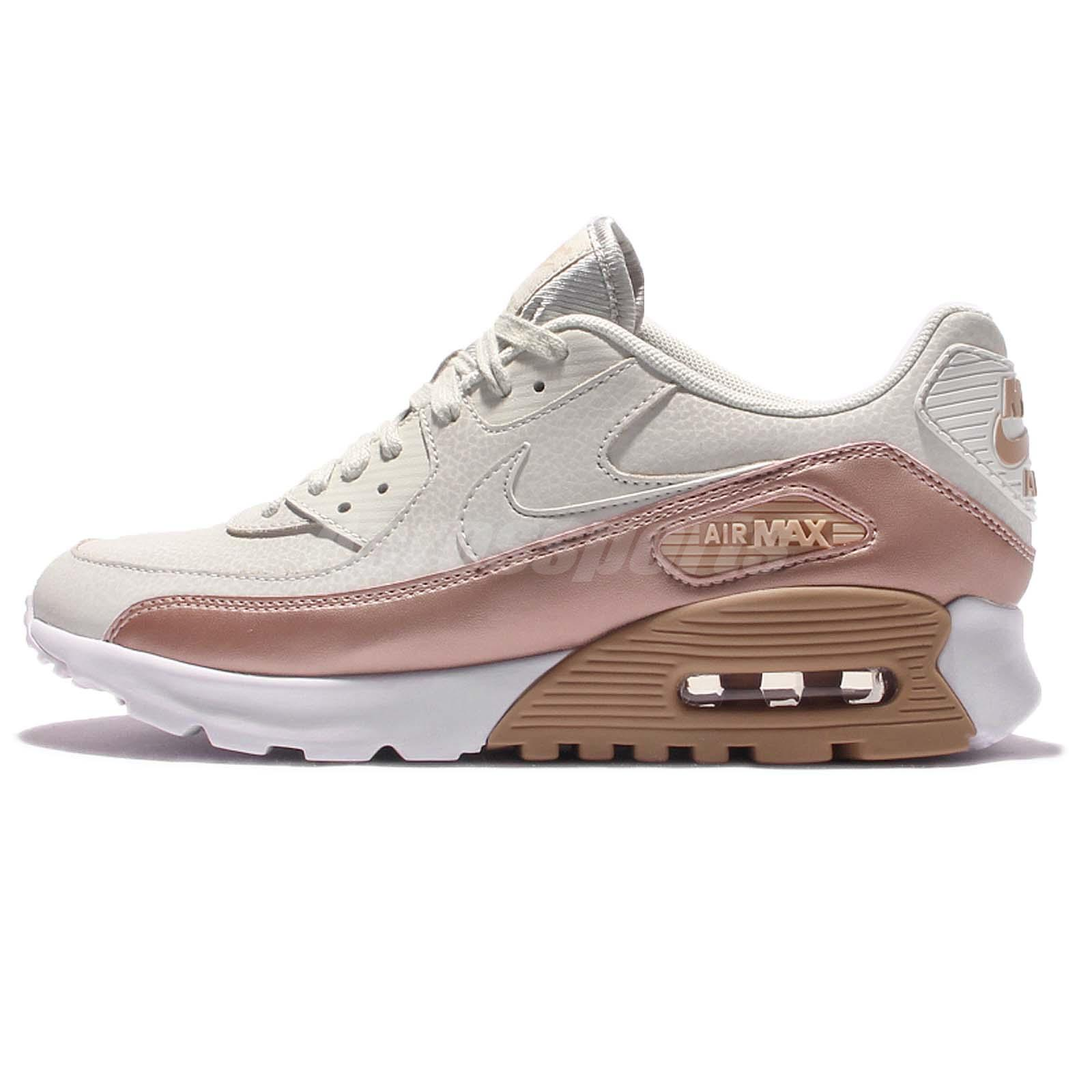 Nike Air Real Max 90 Women Shoe Leather White Rose