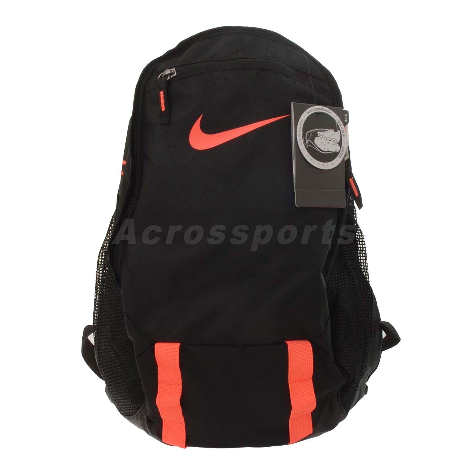 nike soccer offense compact backpack black orange boot