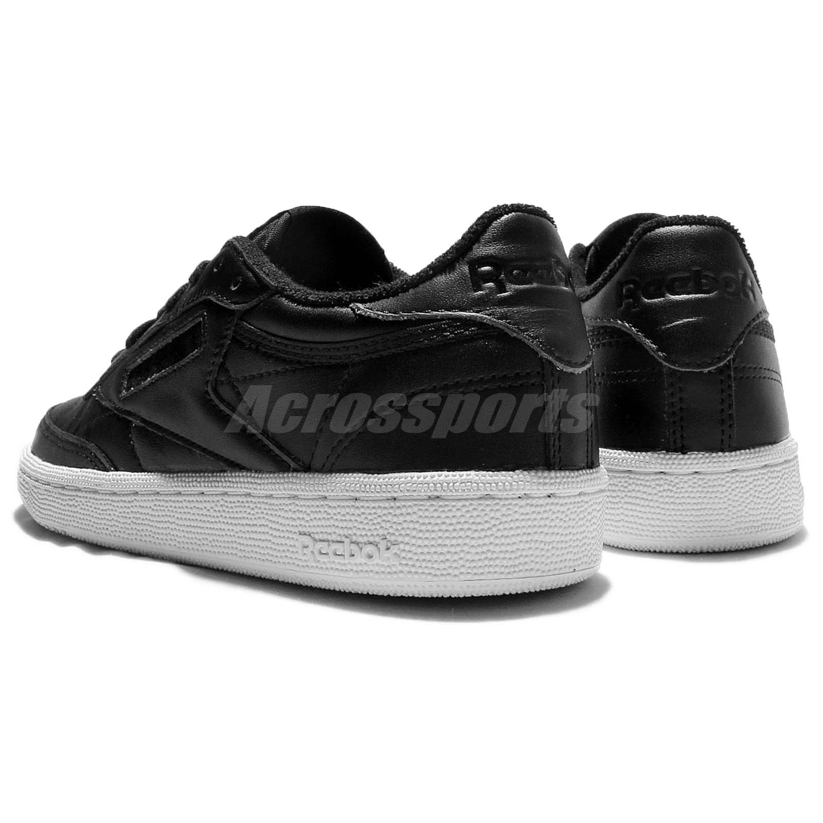 reebok club c 85 leather black white womens casual shoes