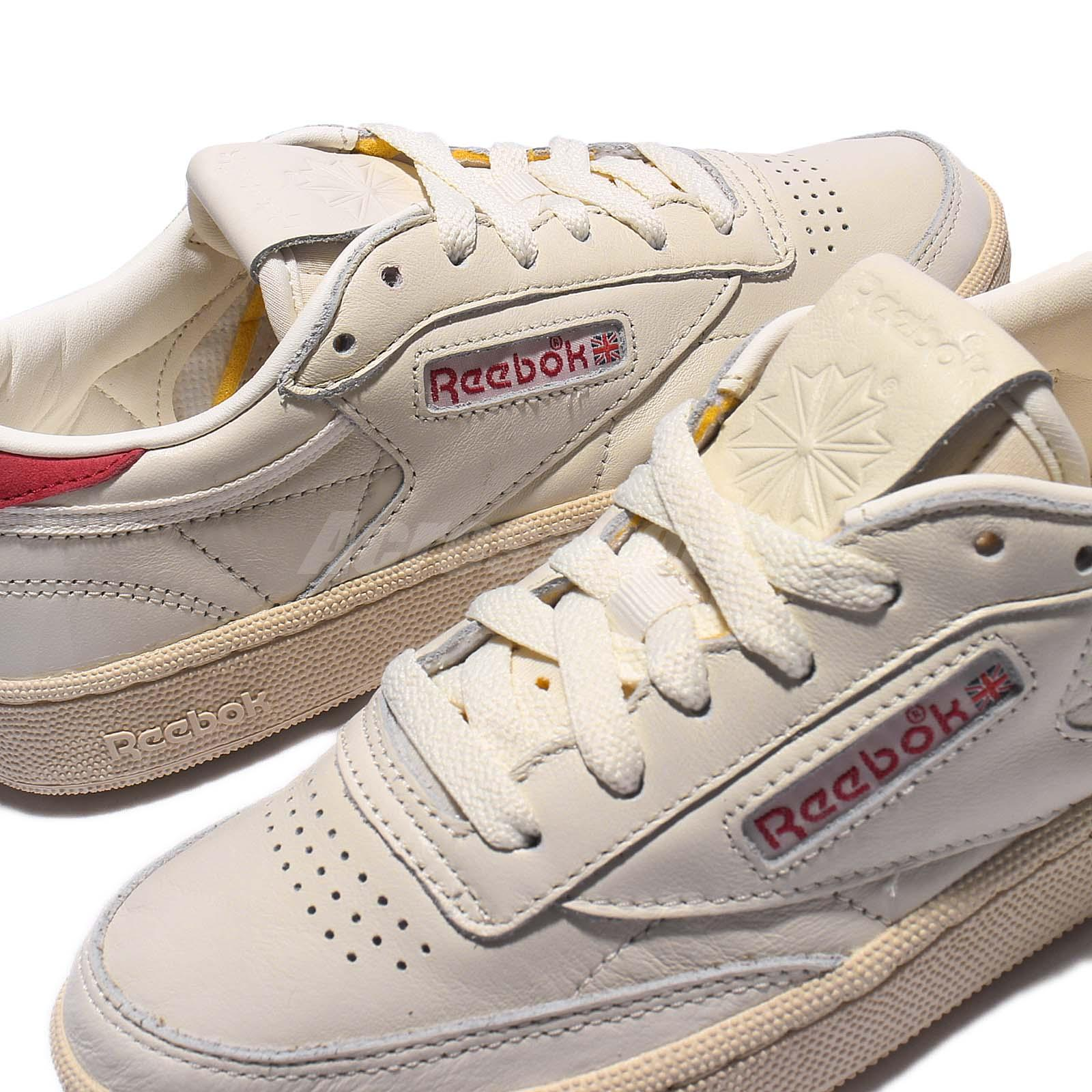 reebok club c 85 ll chalk leather vintage classic women casual shoes bs7033. Black Bedroom Furniture Sets. Home Design Ideas