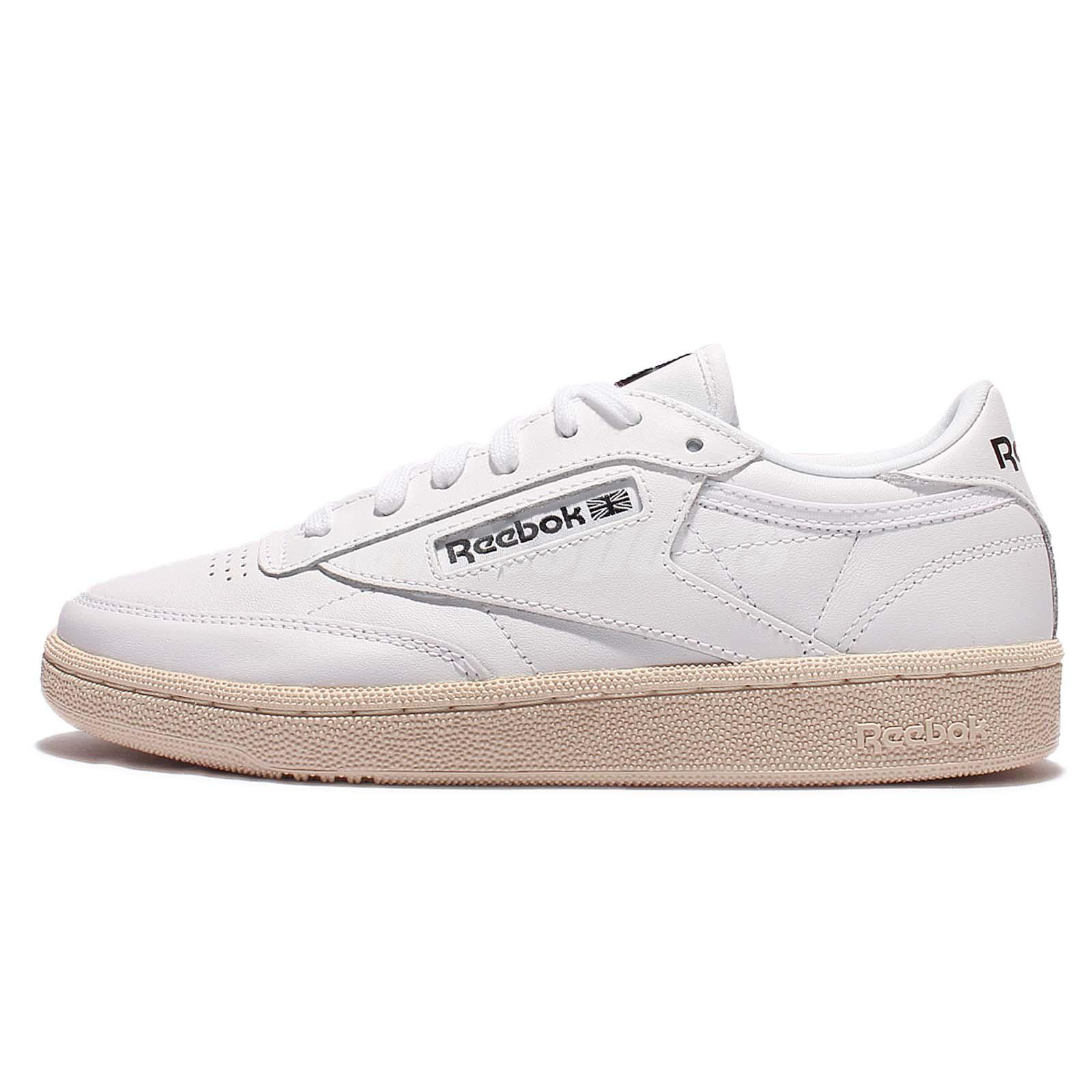Reebok Classic Club C 85 SU White Black Vintage Soft Leather Women Shoes BS7490
