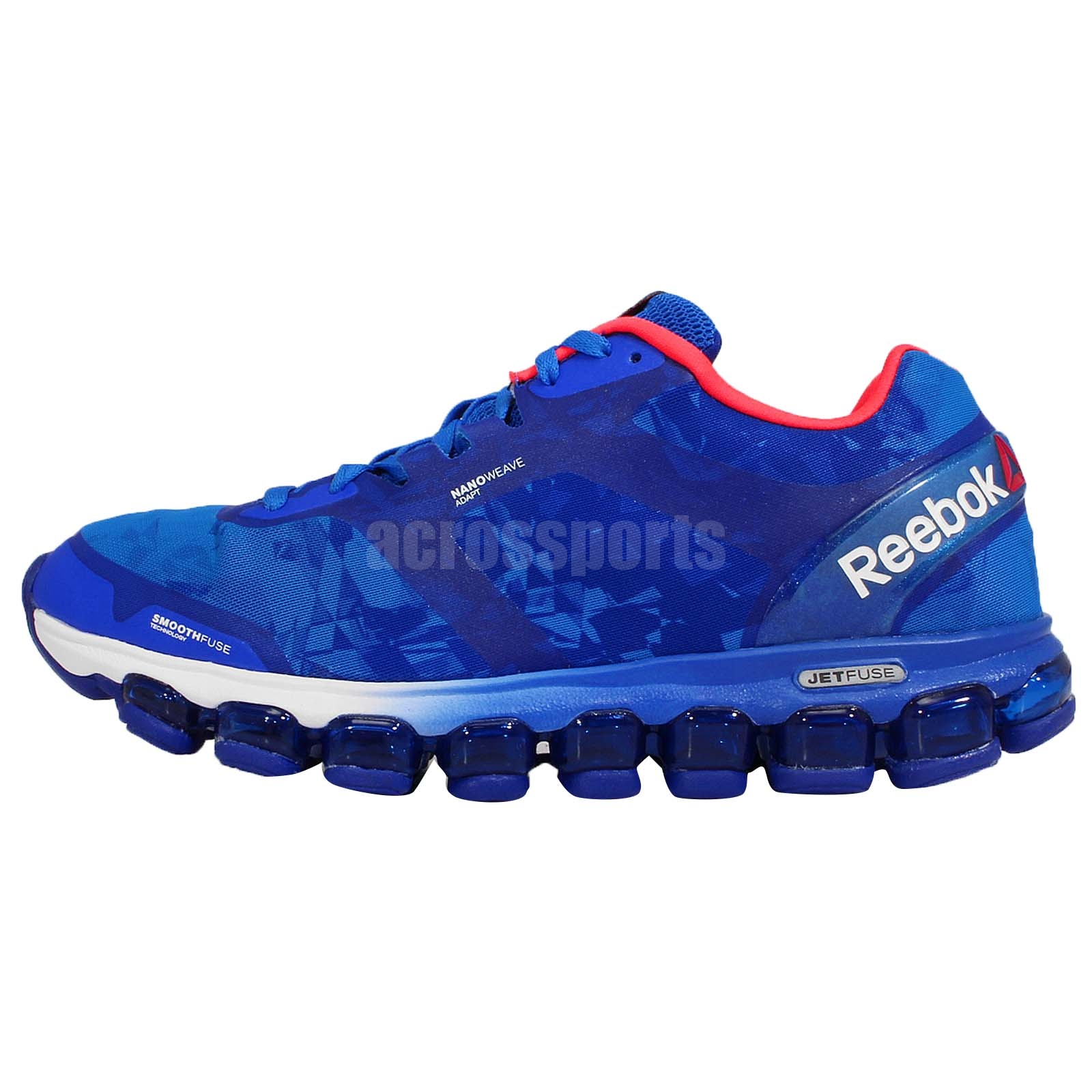 reebok zjet soul jetfuse blue pink mens running shoes