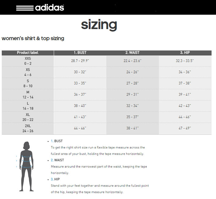 Adidas sports bra size chart syracusehousing org