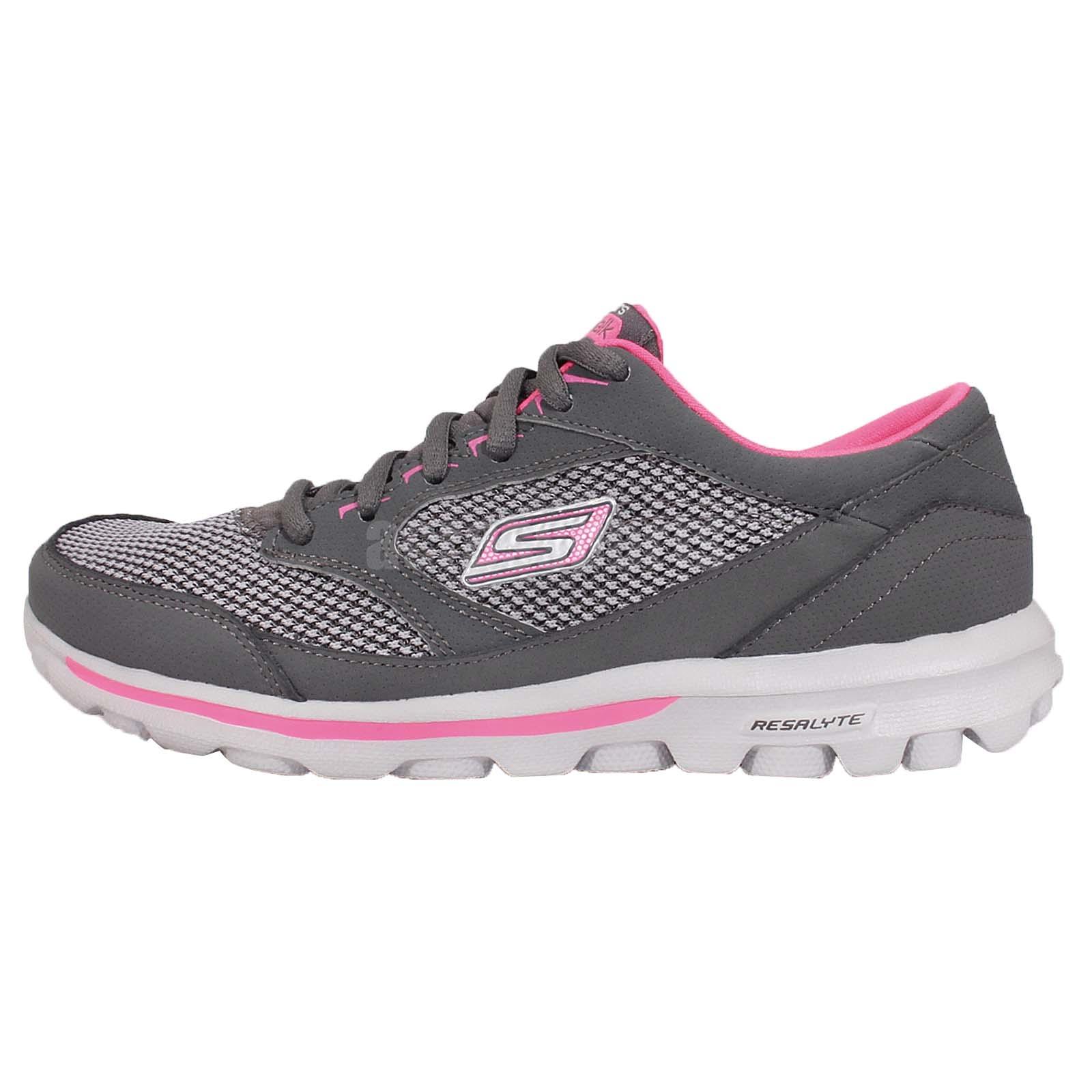 skechers go walk resalyte grey pink womens walking running