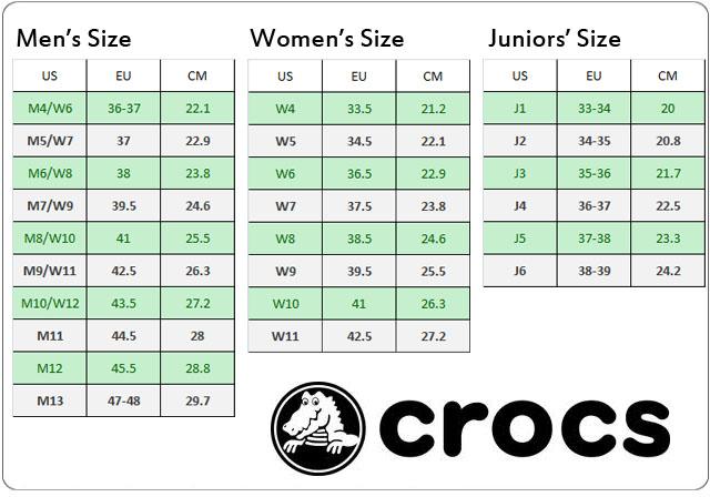 Crocs Shoe Size Chart Us